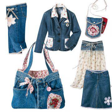 vêtements et accessoires en jeans, dentelle et tissu fleuri