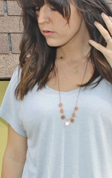 Copper coin necklace Layering coin necklace by daylightderived
