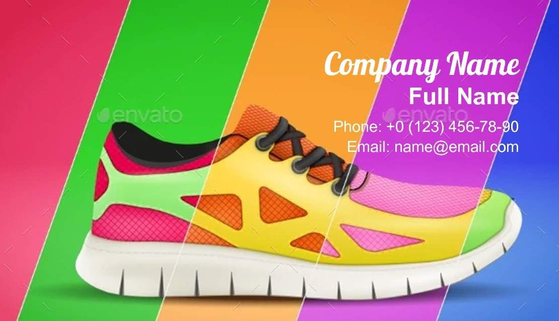 Sporting Sneakers Business Card Template Business Card Template Card Template Visiting Card Design