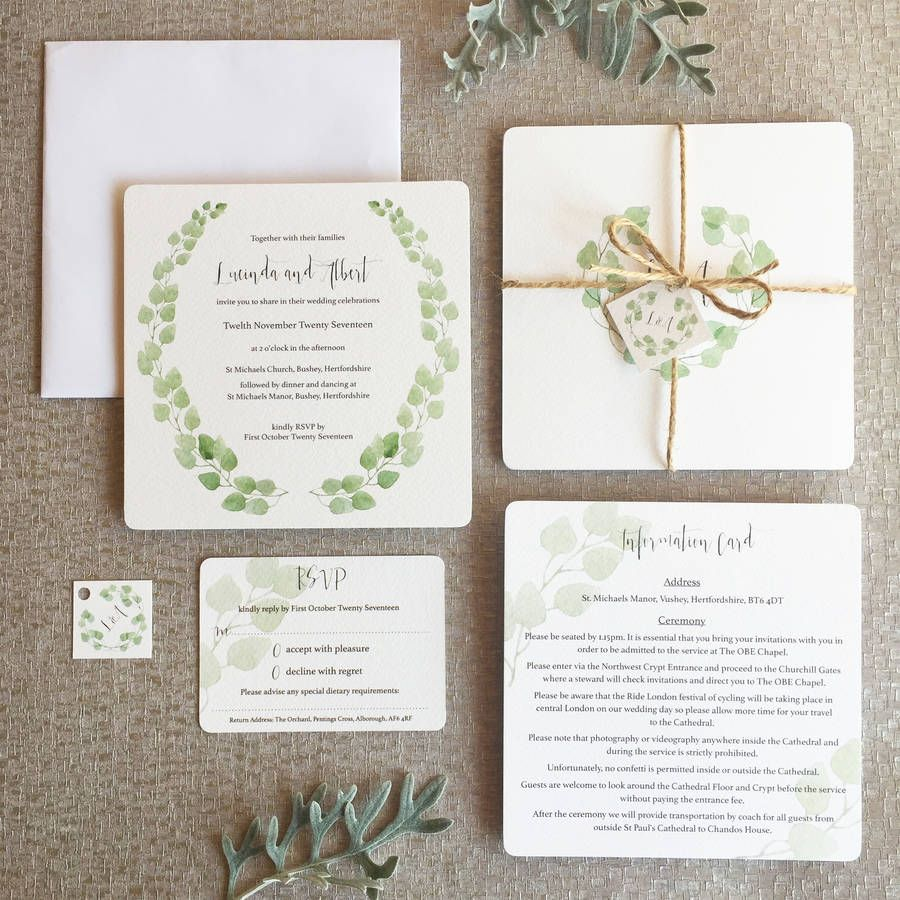 Eucalyptus Wedding Invitation Collection | Eucalyptus leaves ...