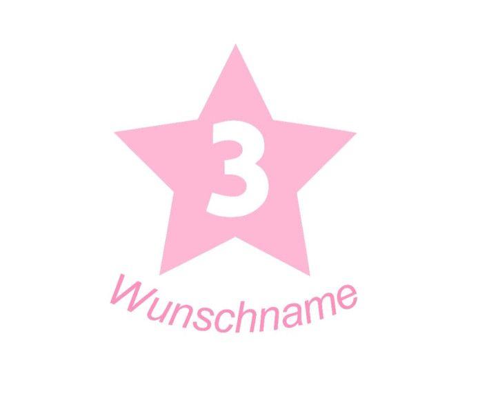 Bügelbild Geburtstagszahl in Stern mit Wunschname von Folienschnitt auf DaWanda.com