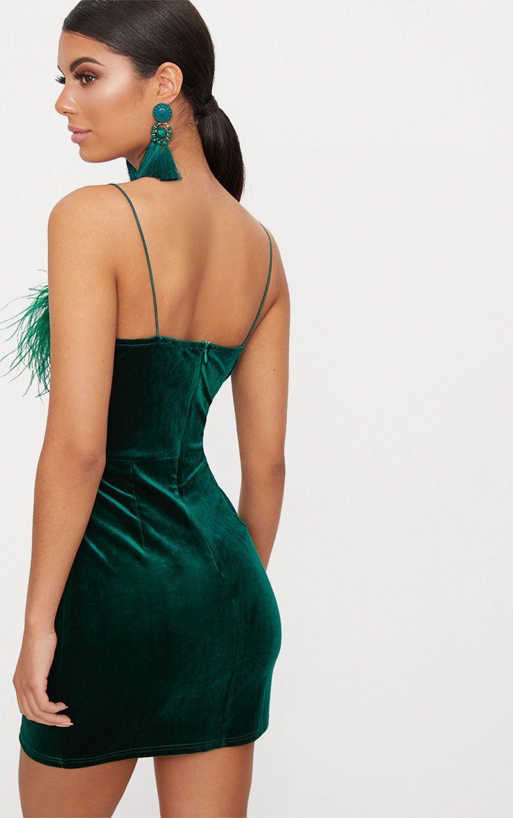 ba0bb0778f Emerald Green Velvet V Plunge Feather Trim Bodycon Dress