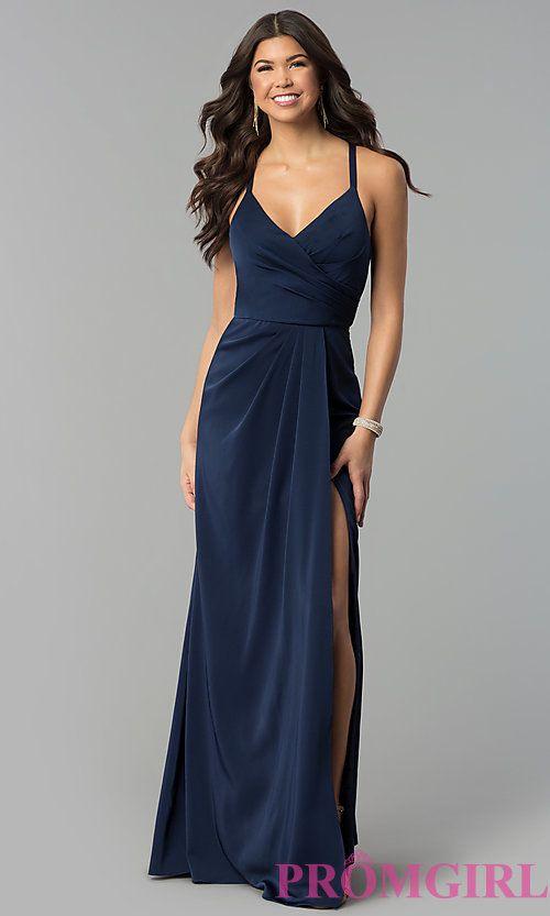 Image of mock-wrap long v-neck prom dress. Style  BL-PG3167 Front Image f6e23998f181
