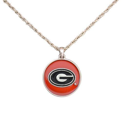 Georgia Bulldogs Translucent Disc Enamel Charm Necklace Jewelry NCAA