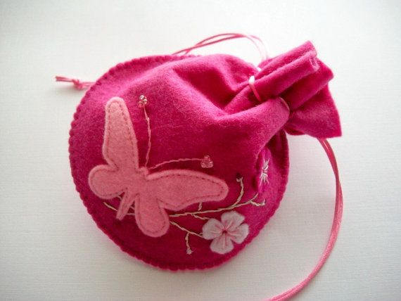 Pink String Bag Felt Pouch with Butterfly