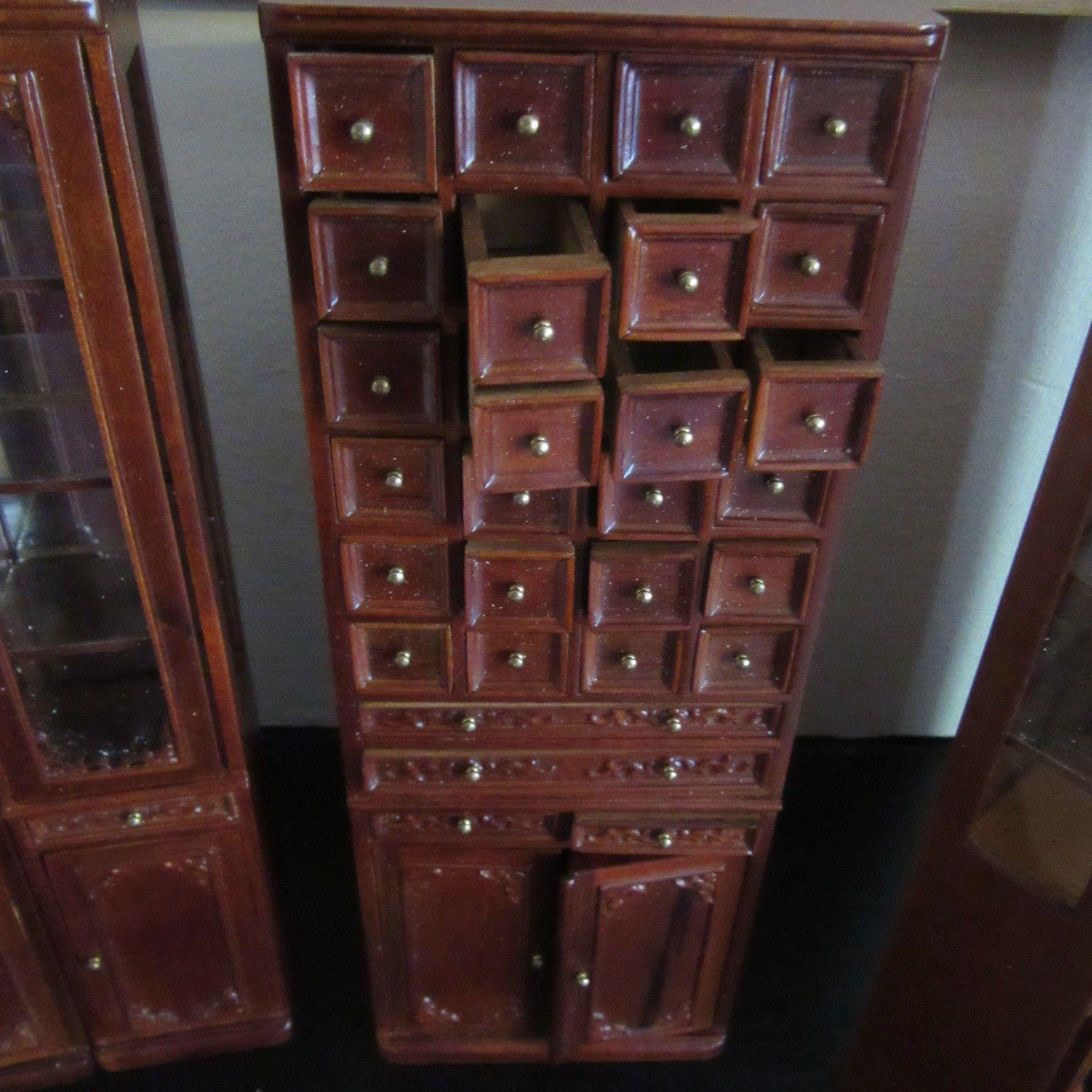 Dolls House Furniture Pharmacy/Chemist, General Shop Drawer Cabinet JiaYi