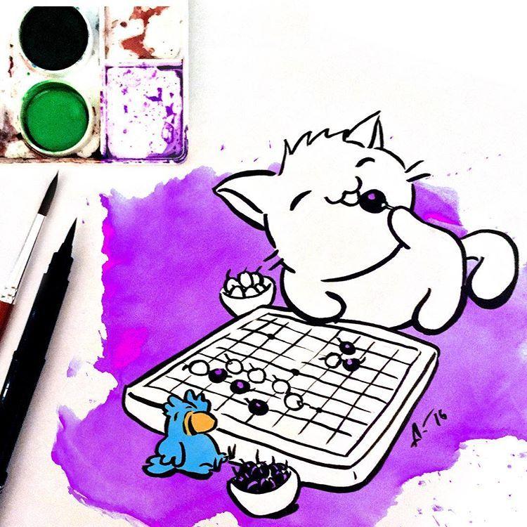 Gatona y Perico 14. Se despiden del año jugando al Go y comiéndose las uvas... . . . #manga #cat #parrot #animecat #anime #gato #loro #lovers #doodle