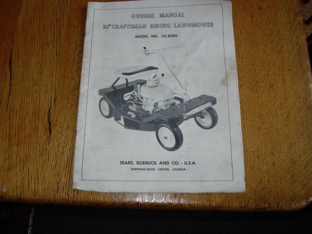 Vintage Craftsman 24 Riding Lawnmower Owners Manual 131 8080 Vintage Craftsman Owners Manuals Vintage Tractors