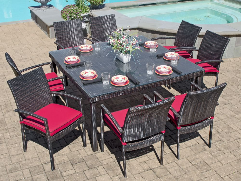 Havana 9 Pc Aluminum Woven Resin Wicker Dining Set With 60 Square Gl Top