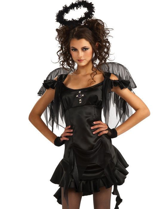 teen girls cute black gothic dark fallen angel halloween costume wings std costume wings. Black Bedroom Furniture Sets. Home Design Ideas