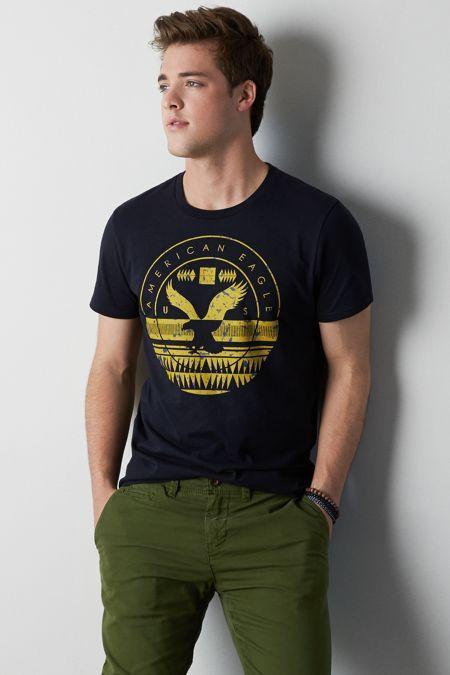 AEO Signature Graphic T-Shirt, Men's, Size: 3XL, Navy Blue