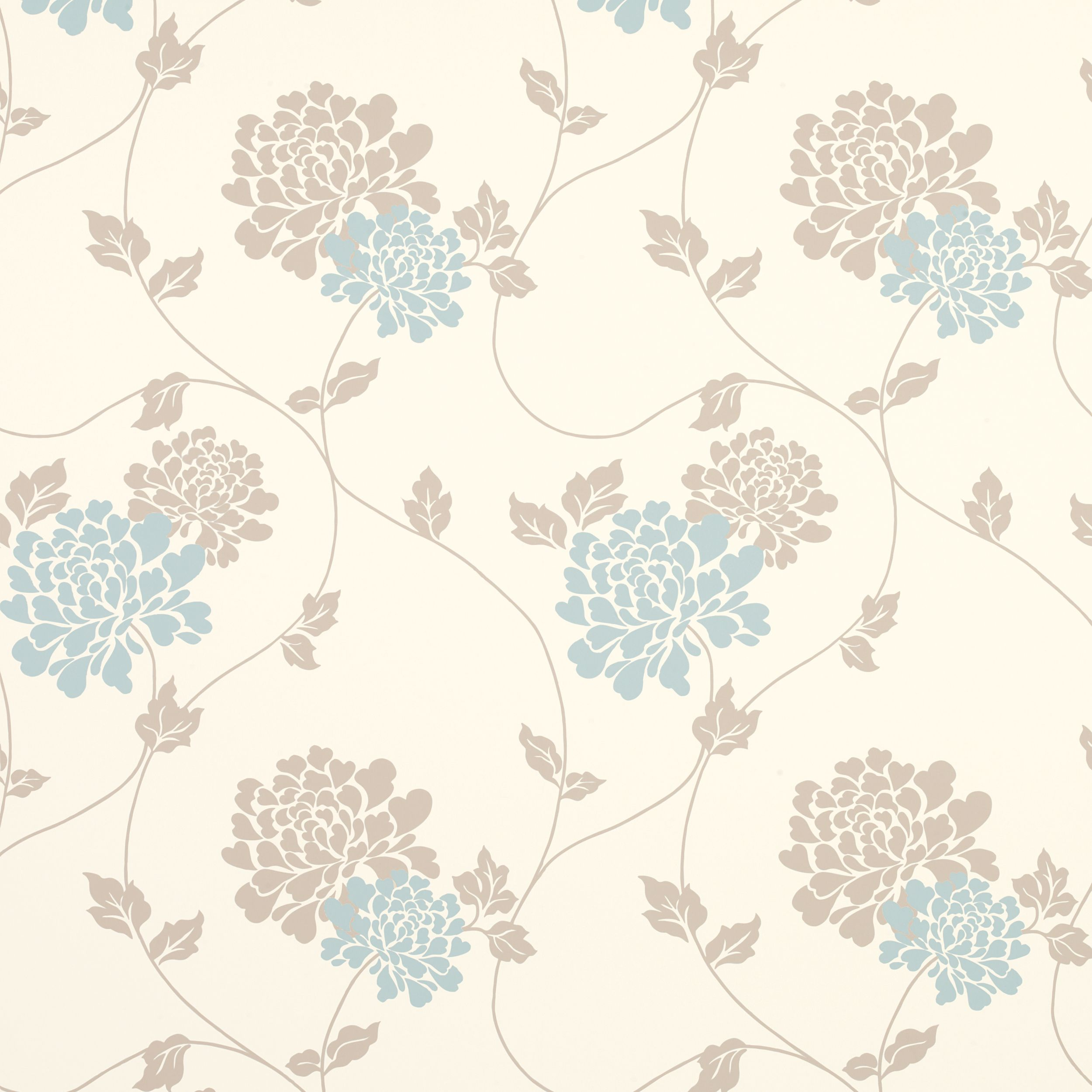 Isodore Duck Egg/Truffle Floral Wallpaper Floral pattern