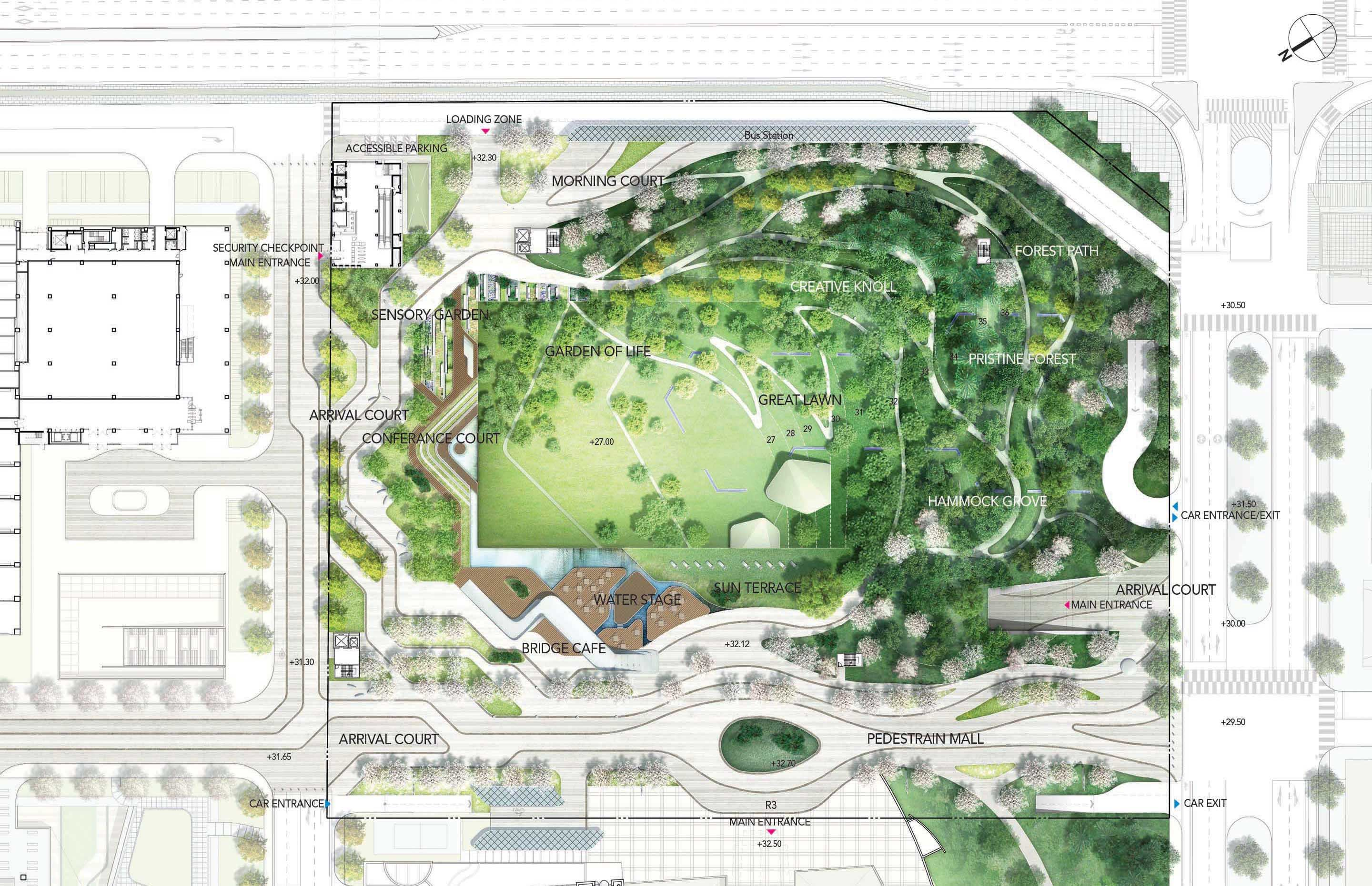 """H Architecture envisions """"Pristine Forest"""" for a new park at Samsung Electronics Digital City SEDC in Suwon South Korea The park covering about"""