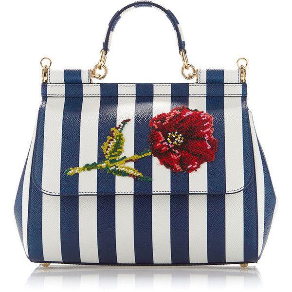 6d8f54d6d2 Dolce   Gabbana Sicily Stripe Top Handle Bag with Needlepoint Flower  (103