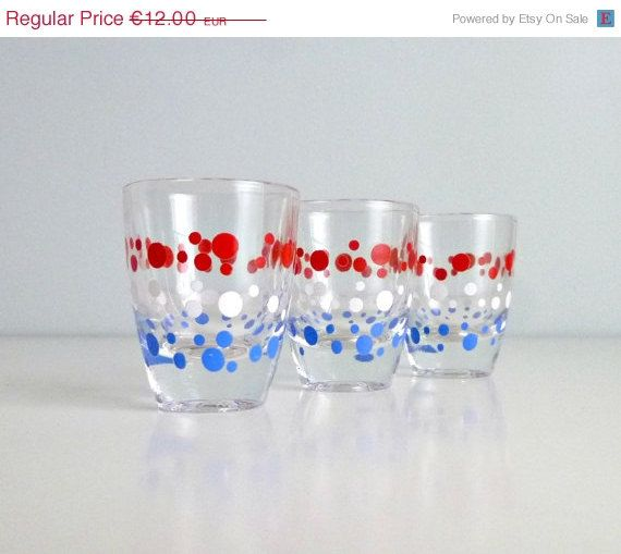 Mid Century Modern Shot Schnapps Glasses - 4th of July - Polka Dots, Red White & Blue - Summer Trends, Independence Day, Glassware - Mad Me by mungoandmidge on Etsy https://www.etsy.com/listing/155626204/mid-century-modern-shot-schnapps-glasses