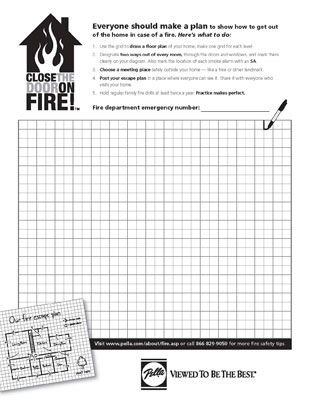 Pella Windows and Doors encourages you to practice home fire - evacuation plan template