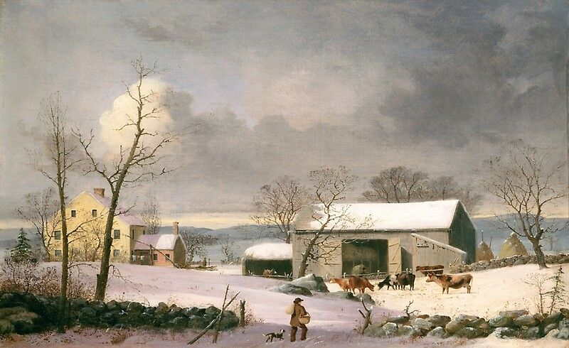 Vintage Winter Barnyard Scene Holiday Christmas  Click to see all the cool products you can get this Christmas picture on