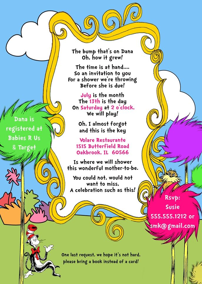 Dr. Seuss Baby Shower Printable Invitation Design, Pink | P A R T ...
