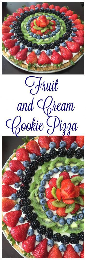 and Cream Cookie Pizza on  is a sugar cookie crust topped with a cream cheese-whipped cream filling, and topped with fresh fruit.