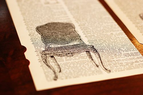 DIY art with old dictionary pages.