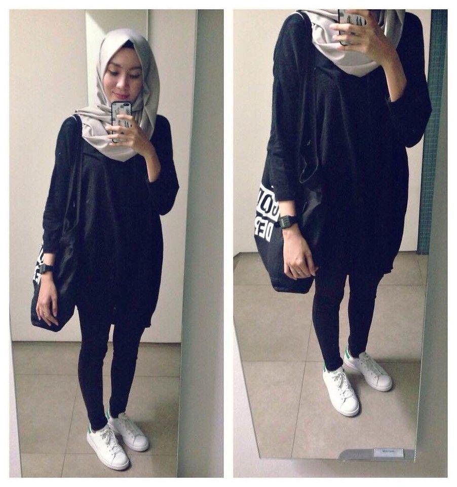 Syaifiena W lookbook.nu/syaifiena ootd. casual hijab outfit Monochrome.  minimalist outfit