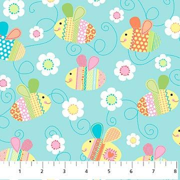 Bundle of Love~Aqua Baby Birds~Children's Cotton Fabric by~Northcott~Fast Shipping CH239