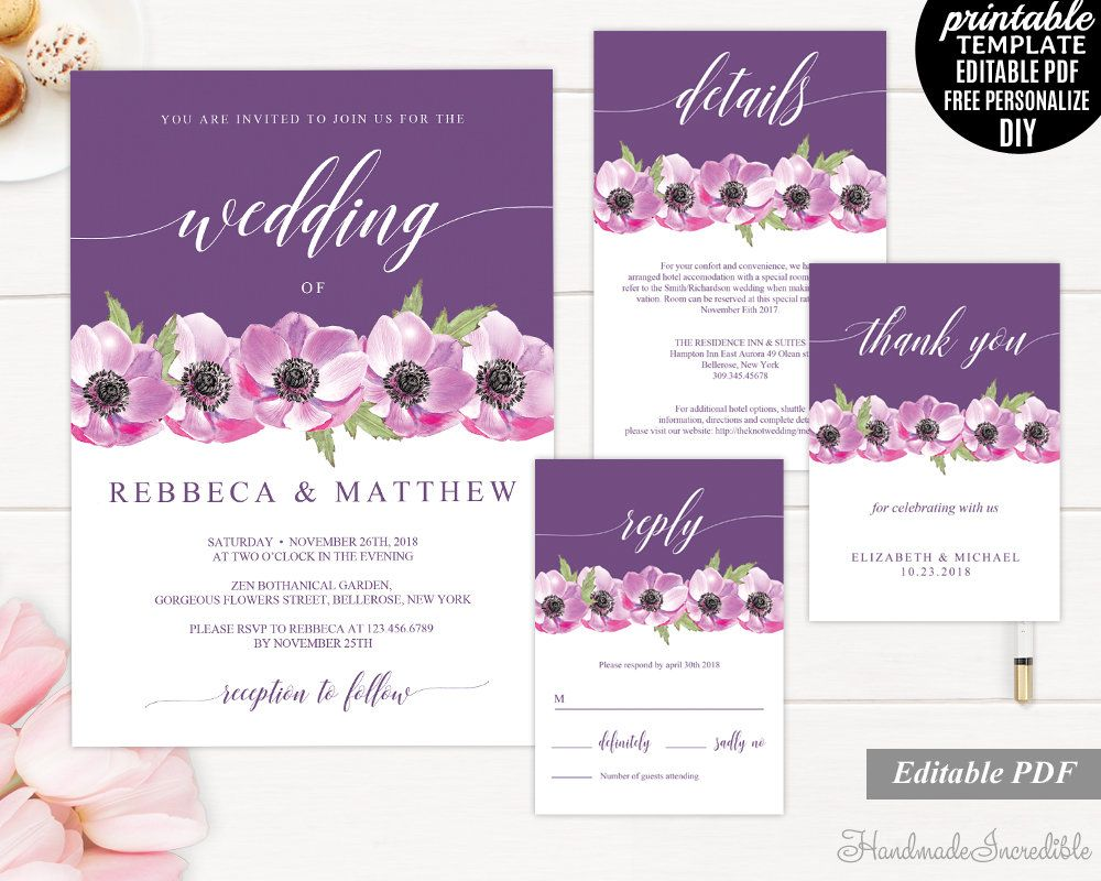 Purple and Pink Flower Wedding Invitation Template, Printable ...