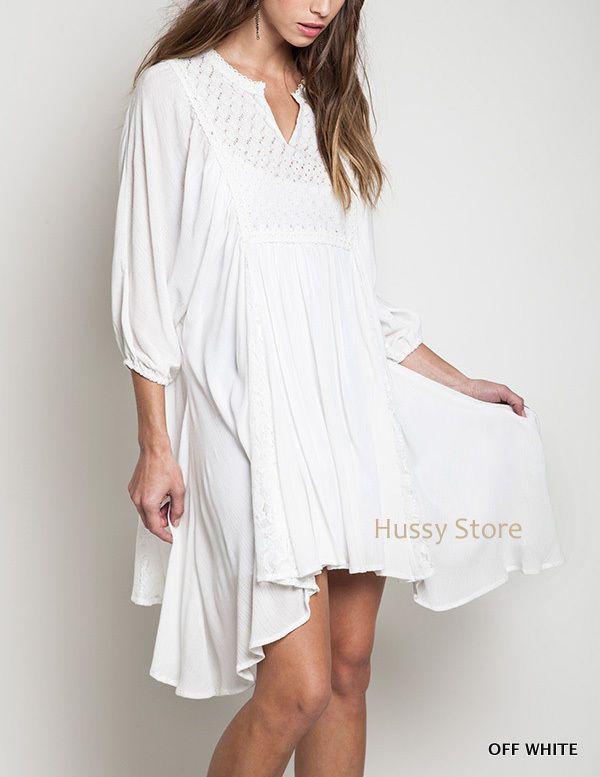 15a34cb4 Umgee Off White Tunic Cover Up Dress Boho Cotton Asymmetrical Hippie  Peasant L #UmgeeUSA #AsymmetricalHem #Casual