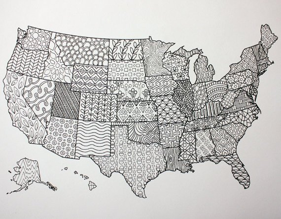 Printable Coloring Page / United States Map / Adult ...