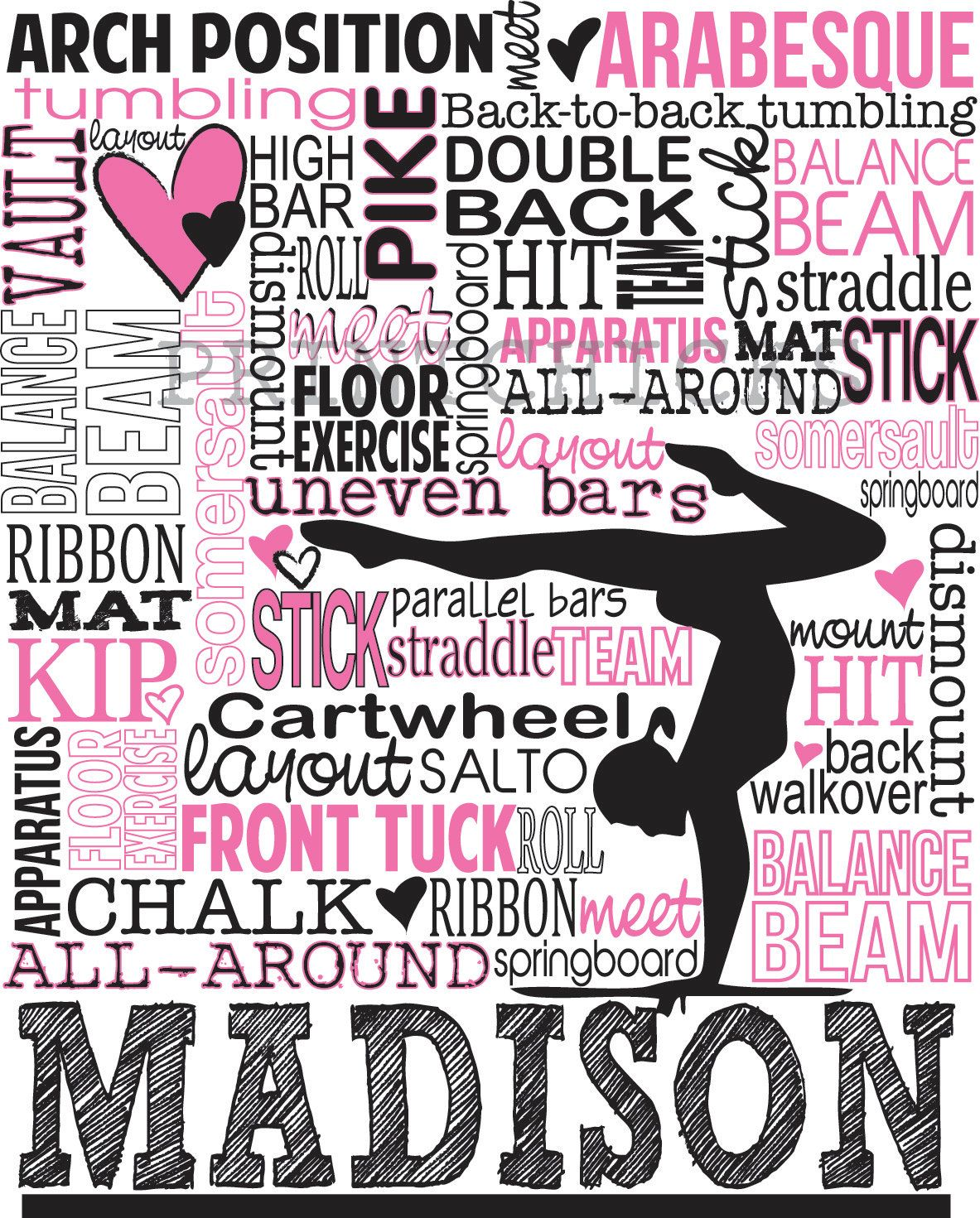 Uncategorized Gymnastics Pictures To Print gymnastics print personalized typography gift 16 x 20 35 00