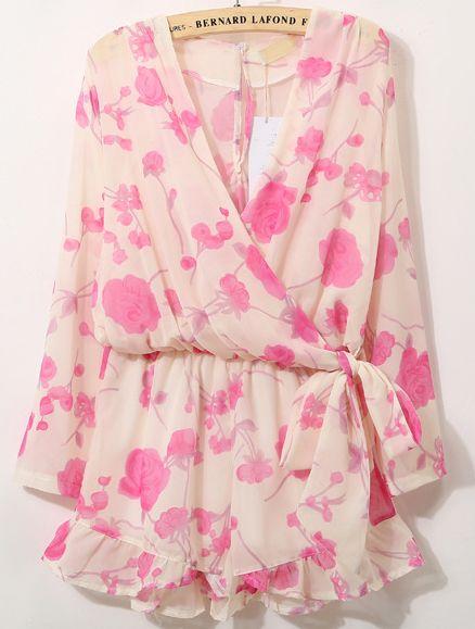 Jumpsuits cuello pico floral lazo-rosado