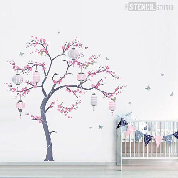 Japanese Cherry Blossom Sakura And Lanterns Nursery Tree Etsy Cherry Blossom Nursery Tree Mural Tree Wall Murals
