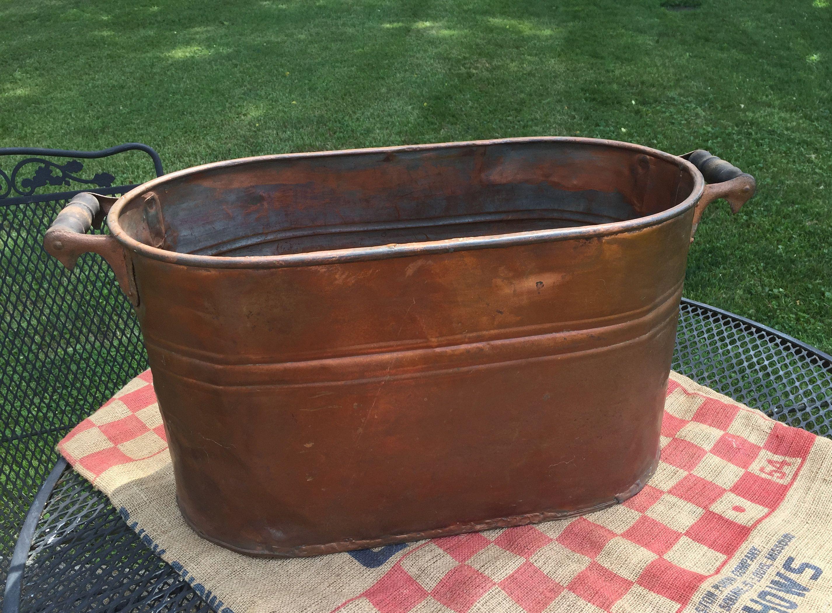 Vintage Copper Boiler, Heavy Antique Wash Pot, Rustic Garden Wedding,