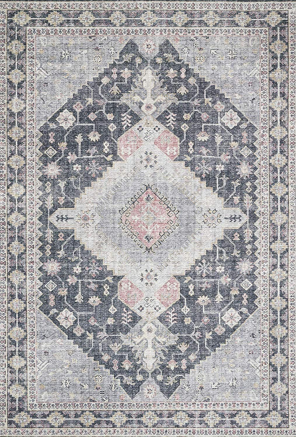Amazon Com Loloi Ii Skyesky 02sigy2339 Skye Area Rug 2 3 X 3 9 Blush Grey Kitchen Dining Vintage Area Rugs Colorful Rugs Area Rugs