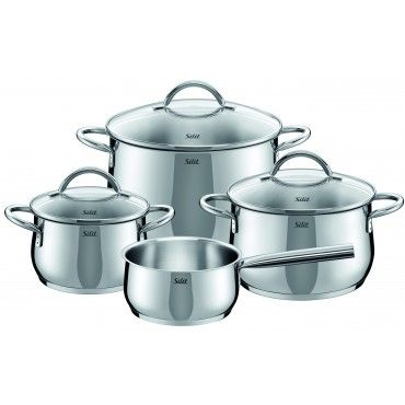 Silit Comodo 7 PC Set-Stainless steel. Elegant design in a bulging shape. View glass lid with stainless steel rim for water-poor and energy-saving cooking. Oven-slip, ergonomically shaped handles in polished stainless steel. Extra Strong Silitherm ® universal base. Suitable for all stove tops. Flared pouring rim for easy pouring.  Visit WMFAmericas.com to shop more Silit cookware!