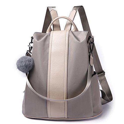 29da44032ebf Women Backpack Purse Waterproof Nylon Anti-theft Rucksack Lightweight  School Shoulder Bag (Khaki)