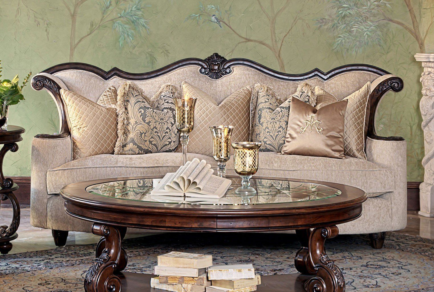 Victoria Palace Wood Trim Sofa Pale Gold Wood Furniture Design Wooden Sofa Designs Furniture Sofa Set
