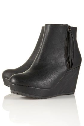 TOPSHOP ALBA Zip Side Wedge Ankle Boots | Shoes ♥ | Pinterest ...