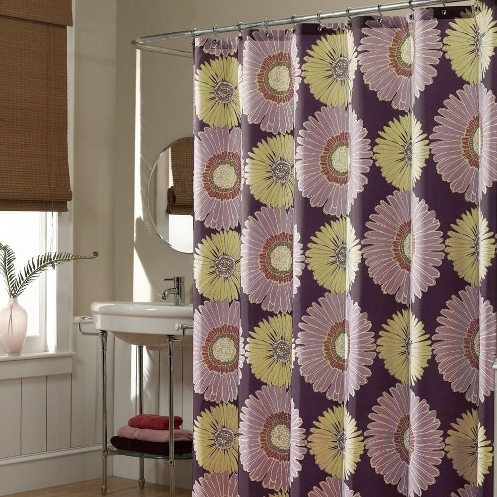 Polyester Fabric Sunflower Purple Shower Curtain 70 X 72 70 X