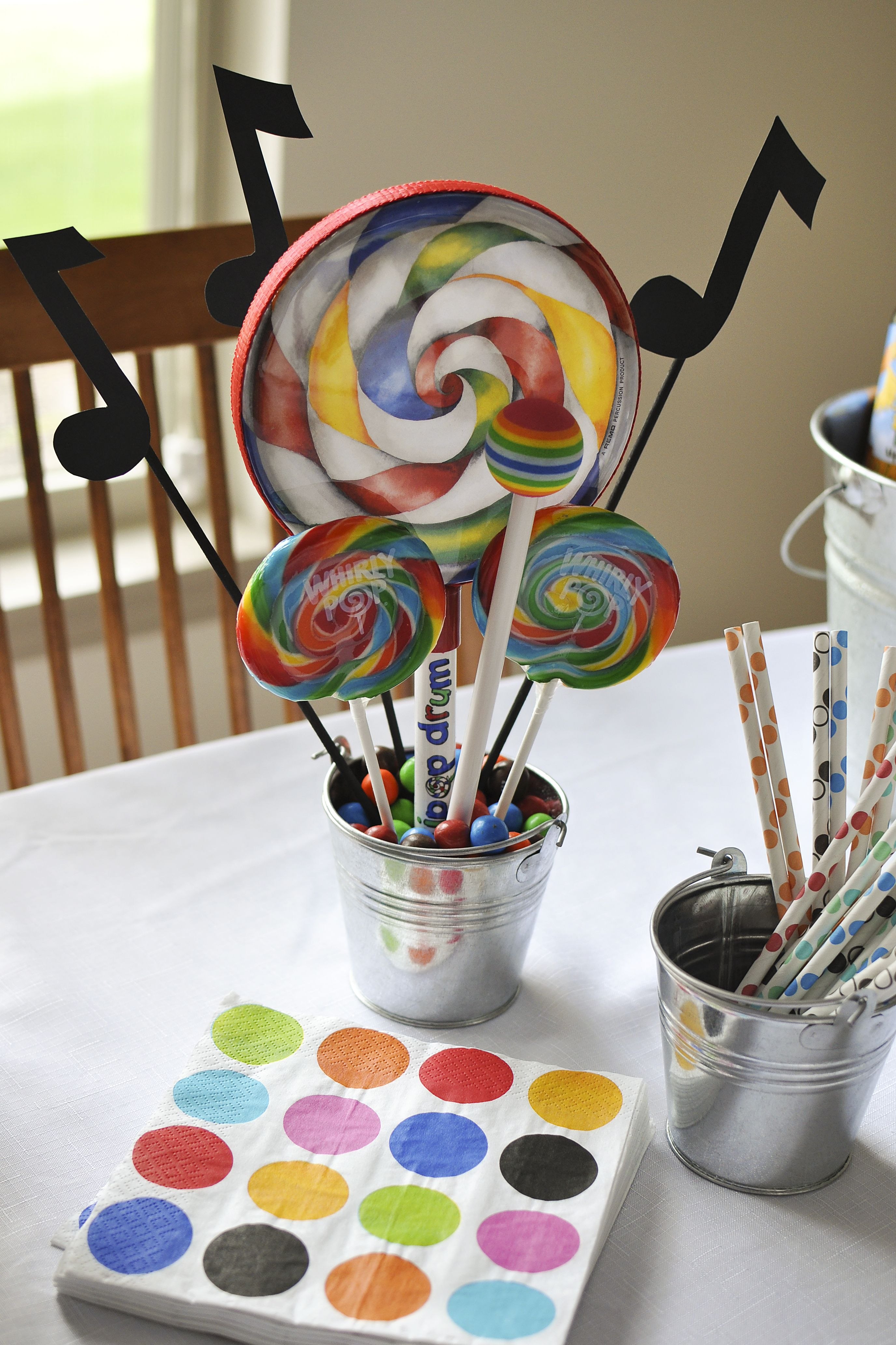 Music themed kid s birthday party lollipop drum
