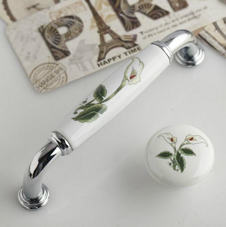 Dresser Knob Drawer Pulls Knobs Handles Cabinet Knob White Silver Flower  Kitchen Handle Pull Knob Rustic Bathroom Ceramic Porcelain by LBFEEL on Etsy 4e54f9030e89