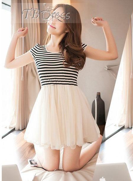 #Skirt #Dresses #Split Best Korean Style Split Joint Short Sleeve Mesh  Striped Skirt