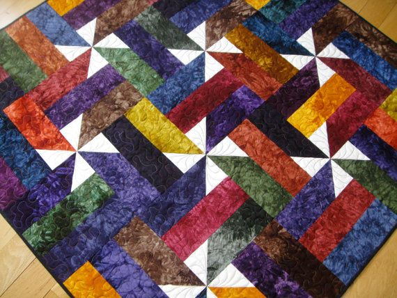 Jewel Tone Patchwork Wall Hanging Lap Quilt Hand By