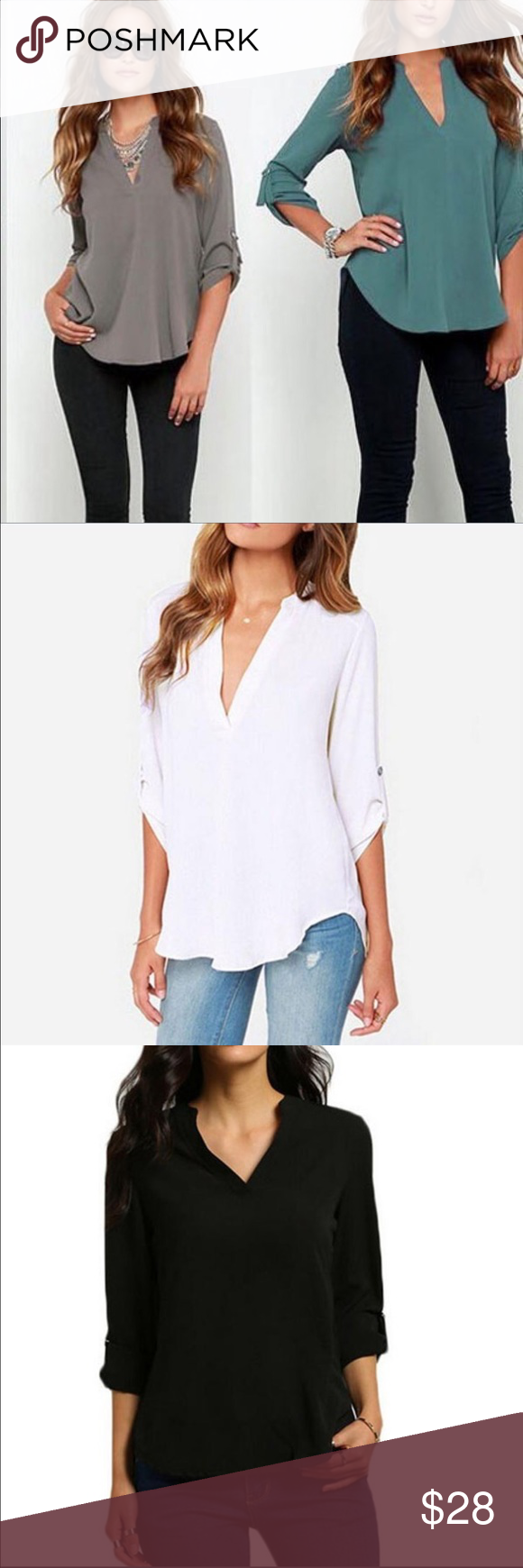 ⚡️FLASH SALE! V neck blouse New- perfect for fall! Soft and comfy. Wear with leggings or jeans. Dress it up or down. Flattering on any body shape. Comment which color you want after you choose your size 😀 Tops Blouses