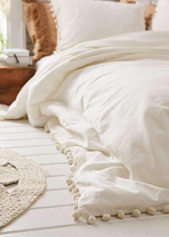 Cotton White Pom Pom Duvet Cover Boho Bedding 100 Cotton