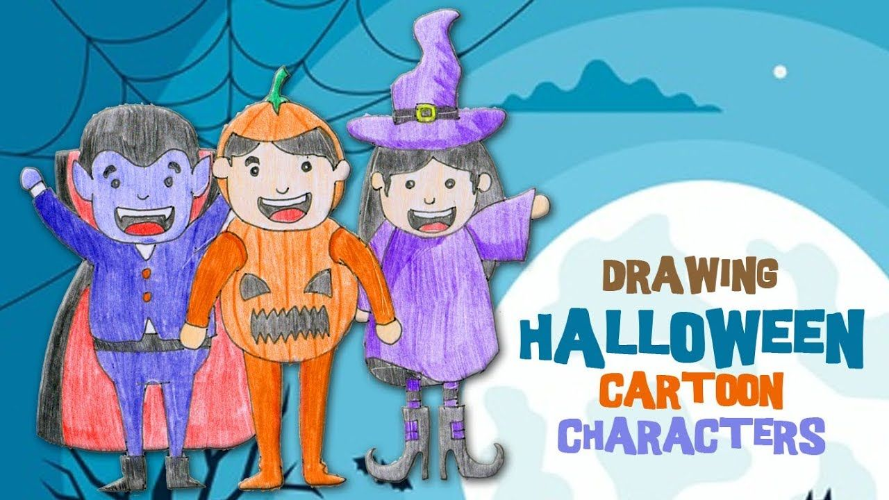 Halloween cartoon characters how to draw a cute ghost