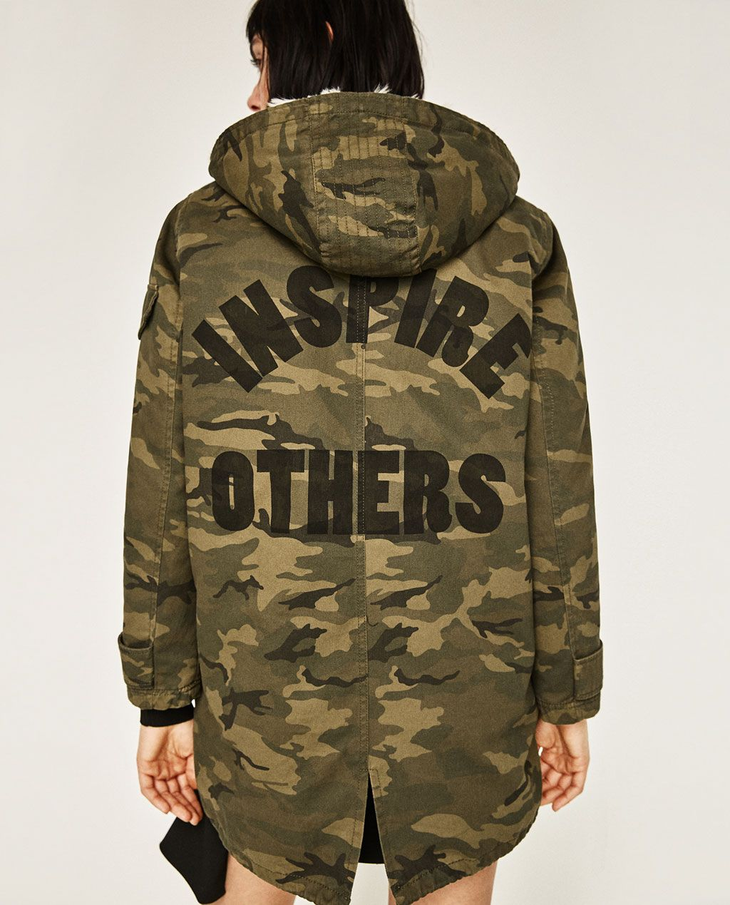 e80fa923 ZARA - WOMAN - CAMOUFLAGE PARKA do not like the writing on the back ...