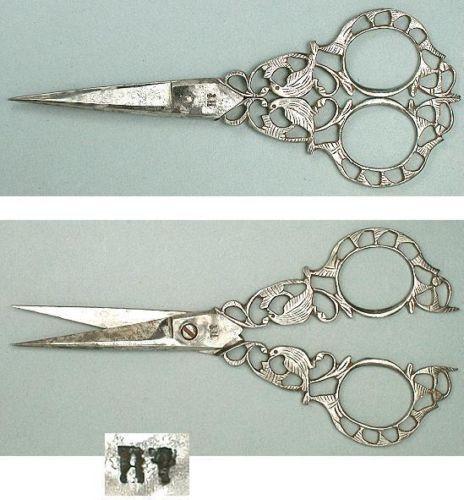 Ornate-Antique-Italian-Steel-Filigree-Birds-Scissors-Circa-1890