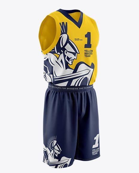 Download Download Basketball Jersey With V-Neck Mockup Half Side ...