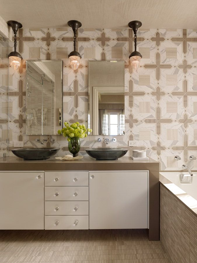White bath vanity cabinets, floating, waterfall counter top bAtH